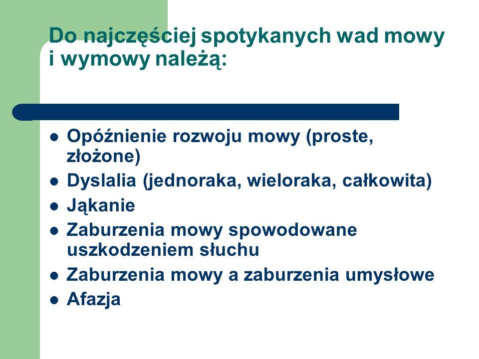 Do najczęściej spotykanych wad mowy i wymowy należą: Opóźnienie rozwoju mowy (proste, złożone) Dyslalia (jednoraka, wieloraka, całkowita) Jąkanie Zabu