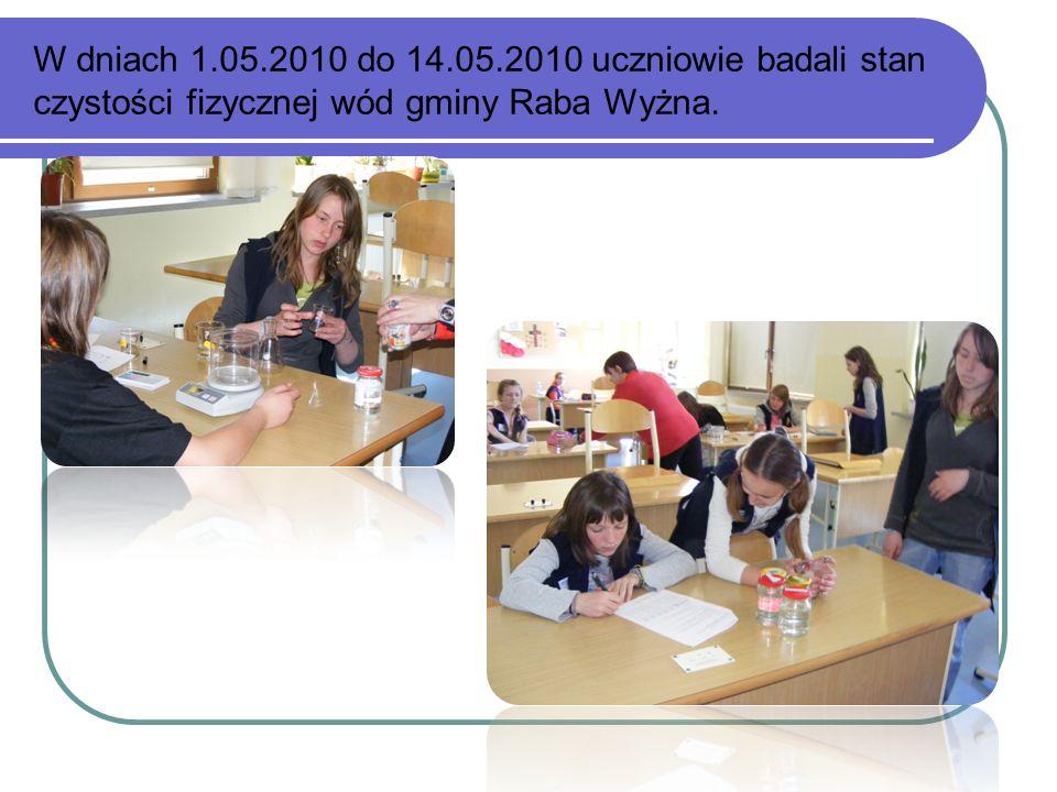 W dniach 1.05.2010 do 14.05.2010 uczniowie badali stan czystości fizycznej wód gminy Raba Wyżna.