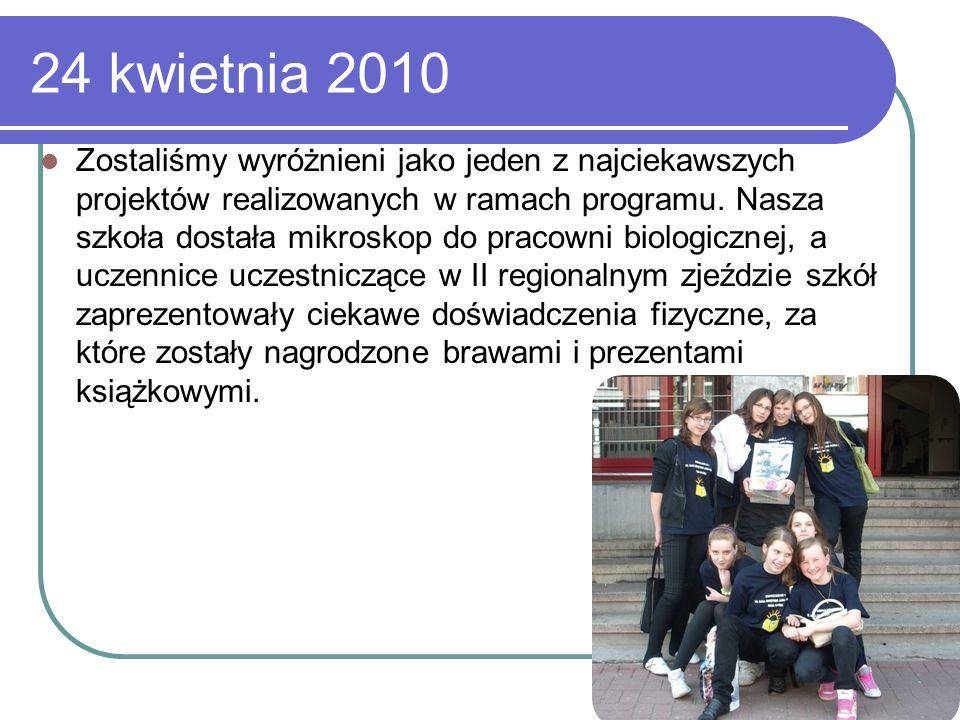 24 kwietnia 2010 Zostaliśmy wyróżnieni jako jeden z najciekawszych projektów realizowanych w ramach programu. Nasza szkoła dostała mikroskop do pracow