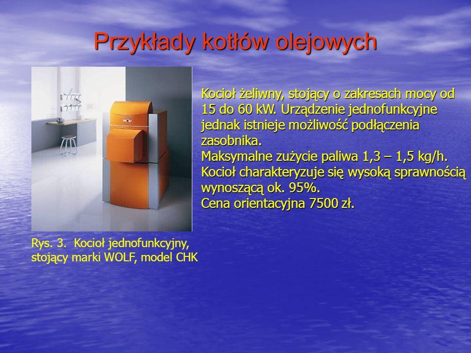 Przykłady kotłów olejowych Rys. 3. Kocioł jednofunkcyjny, stojący marki WOLF, model CHK Kocioł żeliwny, stojący o zakresach mocy od 15 do 60 kW. Urząd