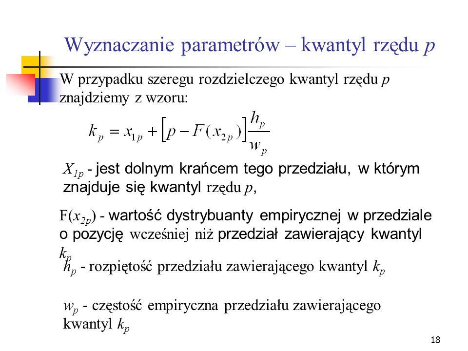 18 Wyznaczanie parametrów – kwantyl rzędu p W przypadku szeregu rozdzielczego kwantyl rzędu p znajdziemy z wzoru: X 1p - jest dolnym krańcem tego prze