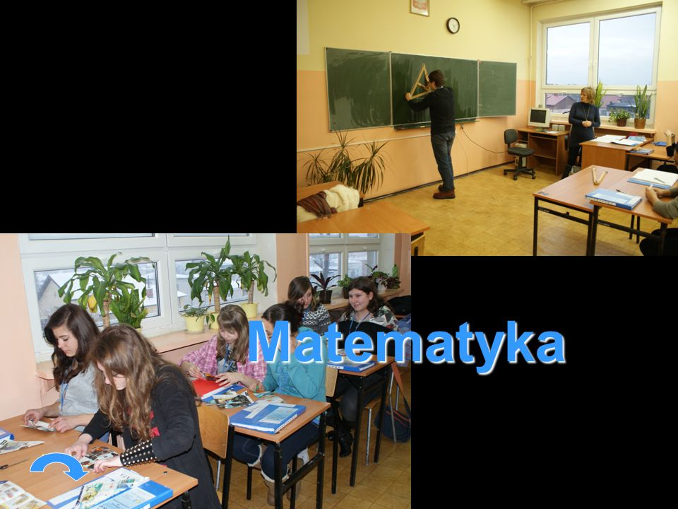 Uczestnicy projektu podczas zajęć z matematyki z zaangażowaniem ćwiczą geometrię i obliczają pola figur.