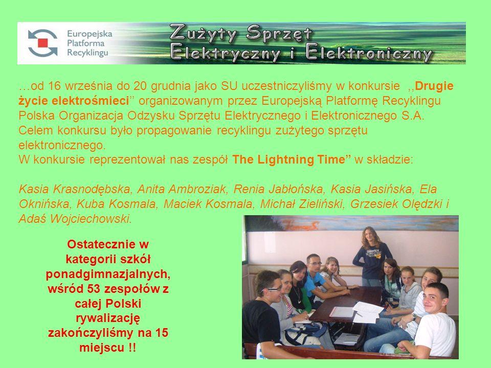 …od 16 września do 20 grudnia jako SU uczestniczyliśmy w konkursie,,Drugie życie elektrośmieci organizowanym przez Europejską Platformę Recyklingu Polska Organizacja Odzysku Sprzętu Elektrycznego i Elektronicznego S.A.
