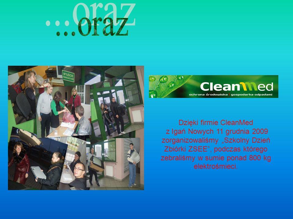 Dzięki firmie CleanMed z Igań Nowych 11 grudnia 2009 zorganizowaliśmy Szkolny Dzień Zbiórki ZSEE, podczas którego zebraliśmy w sumie ponad 800 kg elektrośmieci.
