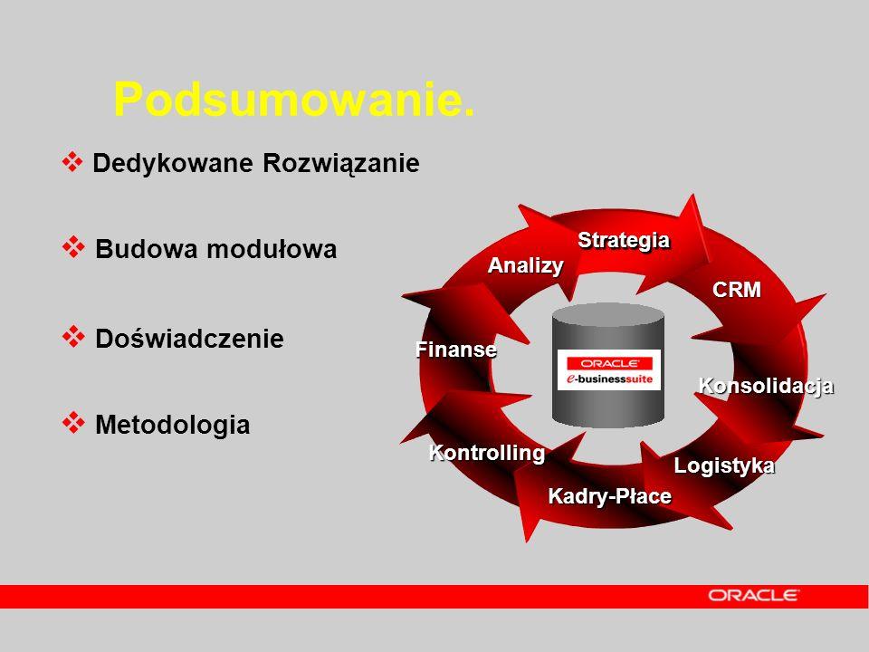 Podsumowanie. Dedykowane Rozwiązanie Budowa modułowa Doświadczenie Metodologia Finanse Logistyka Kadry-Płace CRM Analizy Konsolidacja StrategiaStrateg