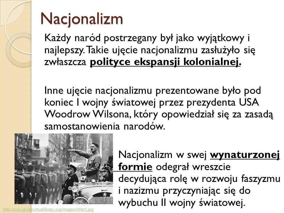 Nacjonalizm Nacjonalizm Każdy naród postrzegany był jako wyjątkowy i najlepszy. Takie ujęcie nacjonalizmu zasłużyło się zwłaszcza polityce ekspansji k