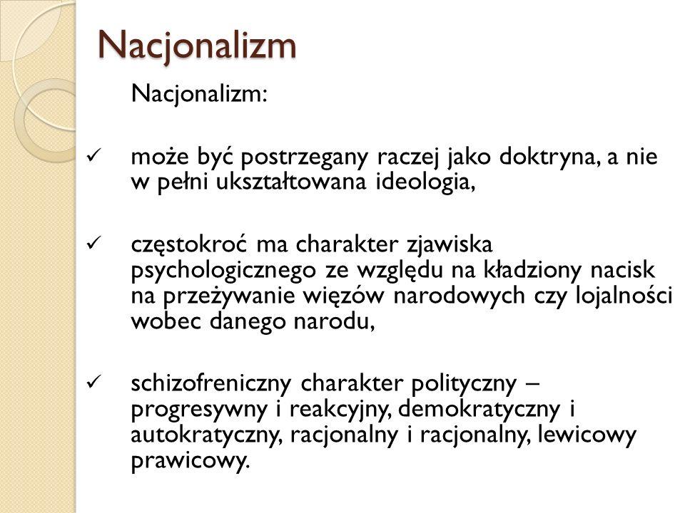 Nacjonalizm Nacjonalizm Nacjonalizm: może być postrzegany raczej jako doktryna, a nie w pełni ukształtowana ideologia, częstokroć ma charakter zjawisk