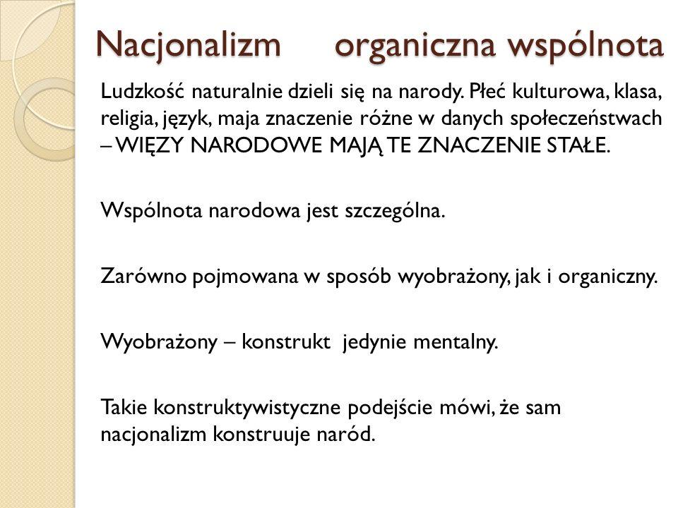 Nacjonalizm organiczna wspólnota Nacjonalizm organiczna wspólnota Ludzkość naturalnie dzieli się na narody. Płeć kulturowa, klasa, religia, język, maj