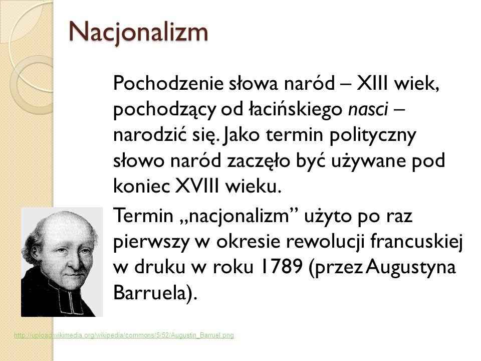 Nacjonalizm Nacjonalizm Pochodzenie słowa naród – XIII wiek, pochodzący od łacińskiego nasci – narodzić się. Jako termin polityczny słowo naród zaczęł