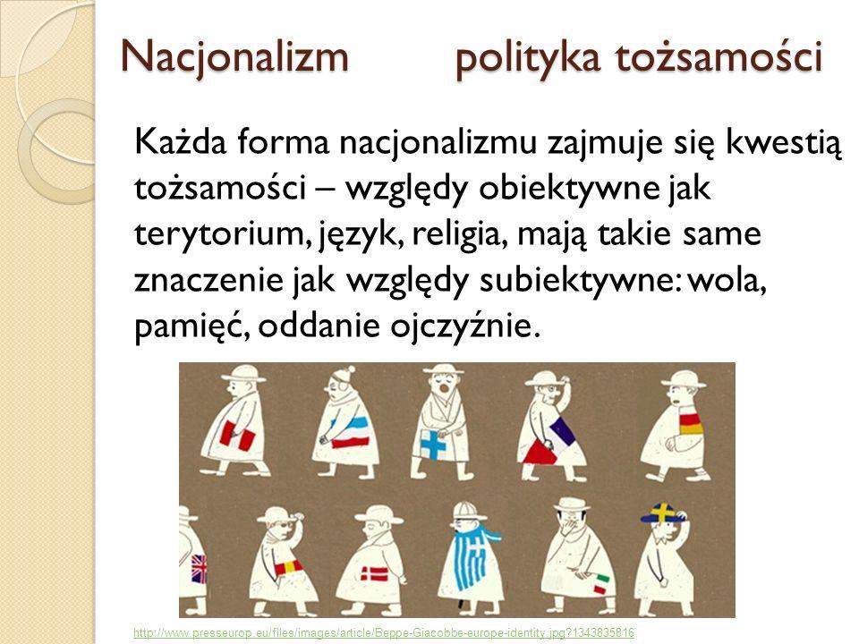 Nacjonalizm polityka tożsamości Nacjonalizm polityka tożsamości Każda forma nacjonalizmu zajmuje się kwestią tożsamości – względy obiektywne jak teryt