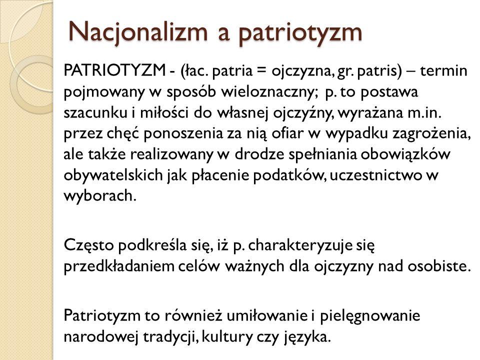 Nacjonalizm a patriotyzm Nacjonalizm a patriotyzm PATRIOTYZM - (łac. patria = ojczyzna, gr. patris) – termin pojmowany w sposób wieloznaczny; p. to po