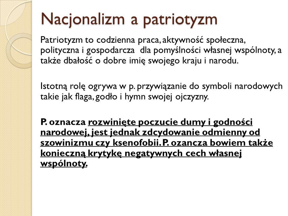 Nacjonalizm a patriotyzm Nacjonalizm a patriotyzm Patriotyzm to codzienna praca, aktywność społeczna, polityczna i gospodarcza dla pomyślności własnej