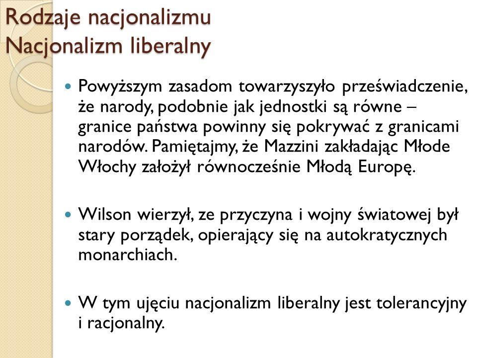 Rodzaje nacjonalizmu Nacjonalizm liberalny Powyższym zasadom towarzyszyło przeświadczenie, że narody, podobnie jak jednostki są równe – granice państw