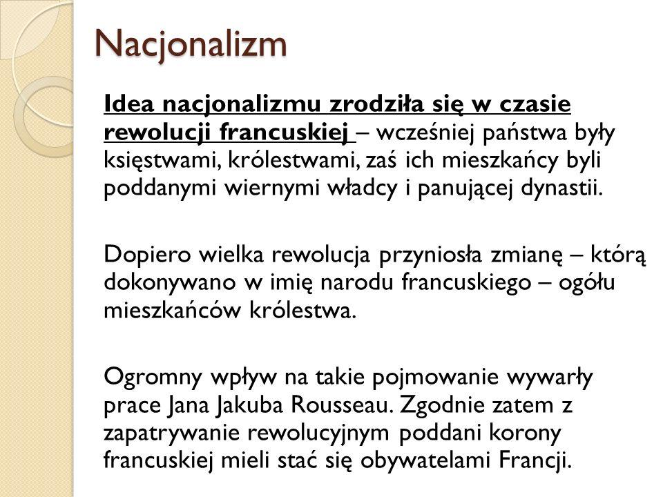 Rodzaje nacjonalizmu Nacjonalizm ekspansjonistyczny Szowinizm narodowy – jednostki i niezależne grupy tracą swoja tożsamość w ramach narodu, W stosunku do jednostek wyizolowanych i bezsilnych, Integracja negatywna – w odniesieniu do wroga – wyraźny podział na ich i nas.