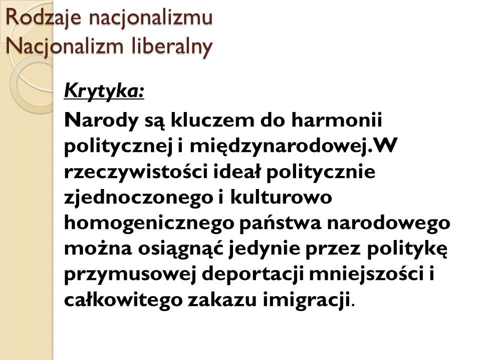 Rodzaje nacjonalizmu Nacjonalizm liberalny Krytyka: Narody są kluczem do harmonii politycznej i międzynarodowej. W rzeczywistości ideał politycznie zj
