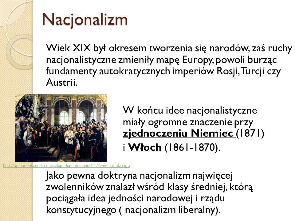 Nacjonalizm Nacjonalizm Wiek XIX był okresem tworzenia się narodów, zaś ruchy nacjonalistyczne zmieniły mapę Europy, powoli burząc fundamenty autokrat