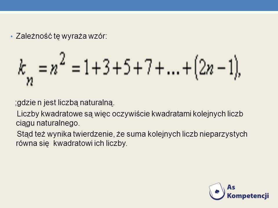 Zależność tę wyraża wzór: ;gdzie n jest liczbą naturalną. Liczby kwadratowe są więc oczywiście kwadratami kolejnych liczb ciągu naturalnego. Stąd też