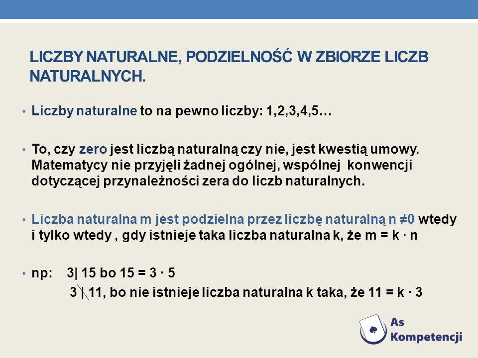LICZBY NATURALNE, PODZIELNOŚĆ W ZBIORZE LICZB NATURALNYCH. Liczby naturalne to na pewno liczby: 1,2,3,4,5… To, czy zero jest liczbą naturalną czy nie,