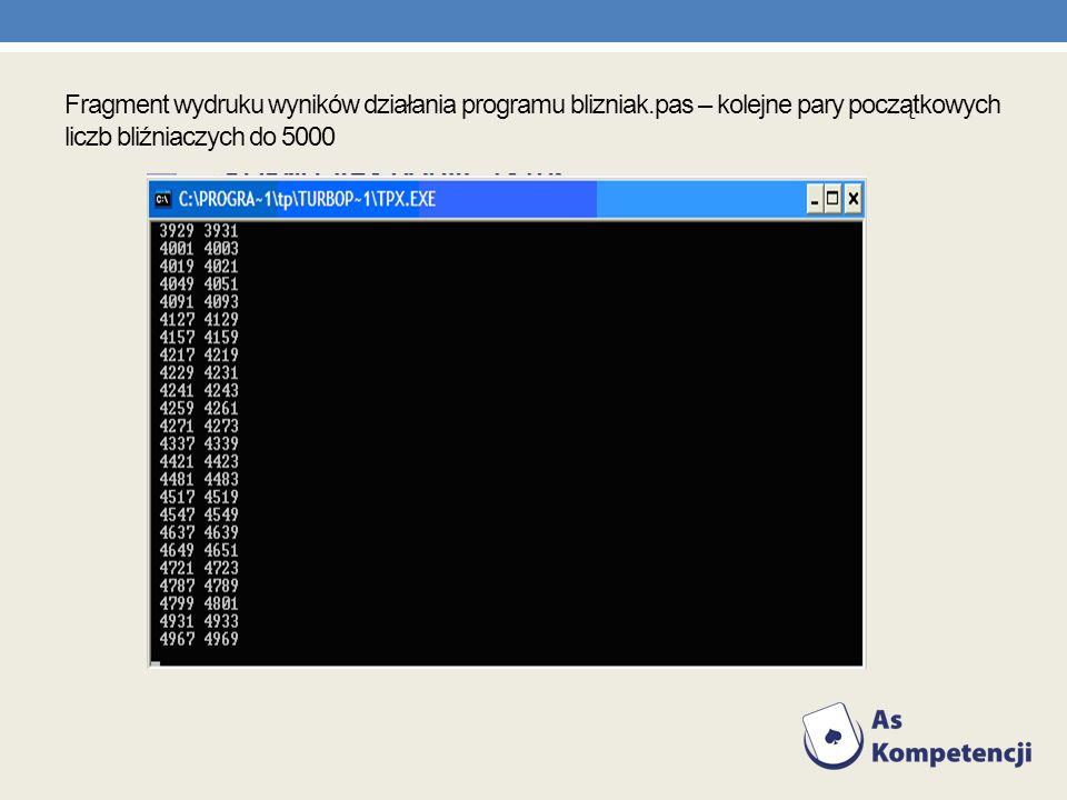 Fragment wydruku wyników działania programu blizniak.pas – kolejne pary początkowych liczb bliźniaczych do 5000