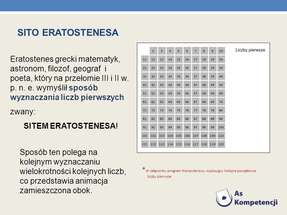 SITO ERATOSTENESA Eratostenes grecki matematyk, astronom, filozof, geograf i poeta, który na przełomie III i II w. p. n. e. wymyślił sposób wyznaczani