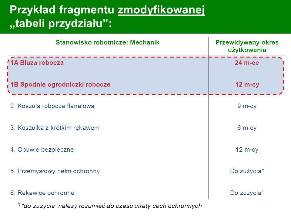 Przykład fragmentu zmodyfikowanej tabeli przydziału: Stanowisko robotnicze: MechanikPrzewidywany okres użytkowania 1A Bluza robocza 1B Spodnie ogrodni