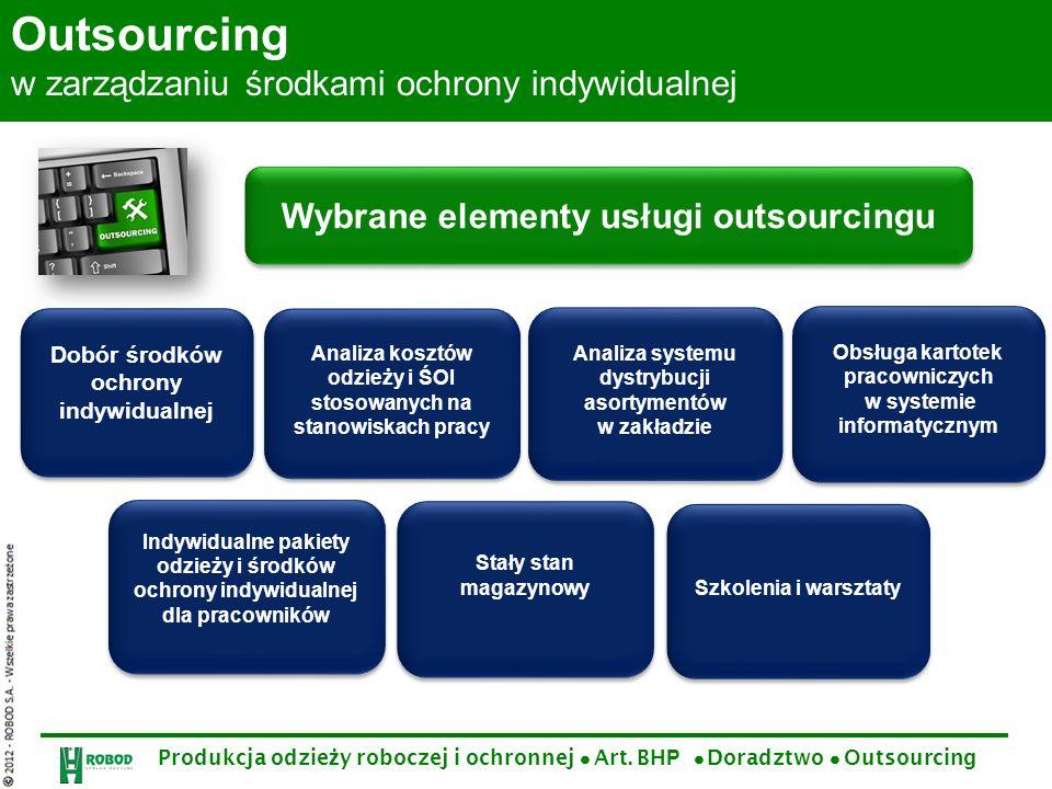Produkcja odzie ż y roboczej i ochronnej Art. BH P Doradztwo Outsourcing Outsourcing w zarządzaniu środkami ochrony indywidualnej Wybrane elementy usł