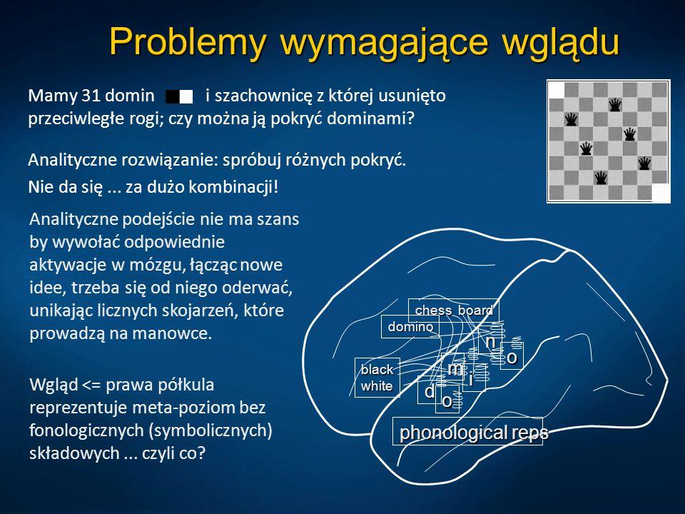 Problemy wymagające wglądu Mamy 31 domin i szachownicę z której usunięto przeciwległe rogi; czy można ją pokryć dominami? Analityczne rozwiązanie: spr