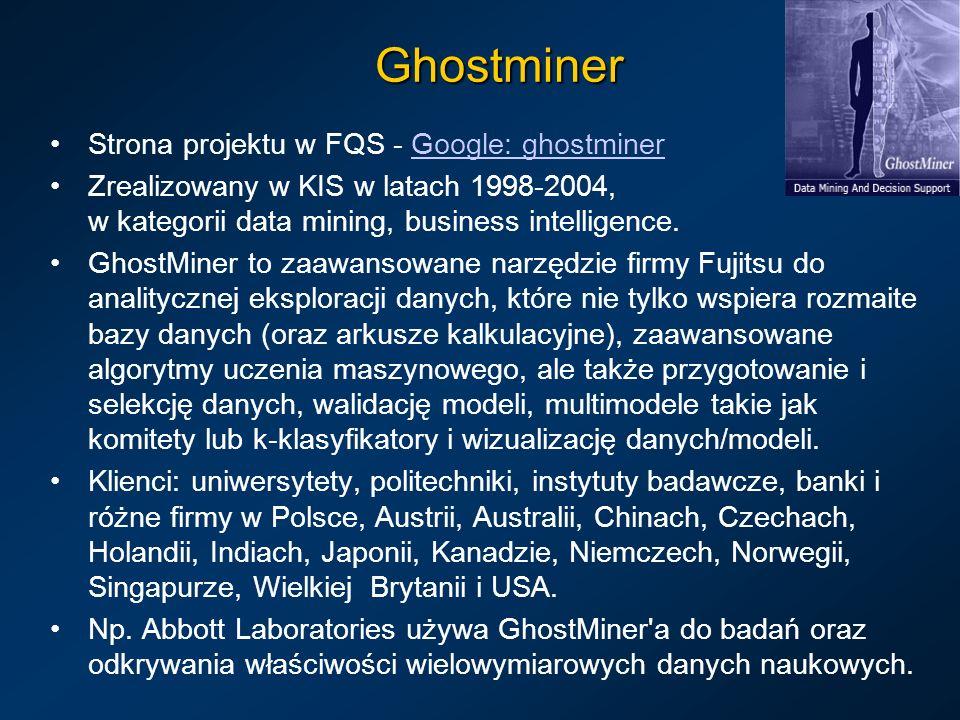 Ghostminer Strona projektu w FQS - Google: ghostminerGoogle: ghostminer Zrealizowany w KIS w latach 1998-2004, w kategorii data mining, business intel