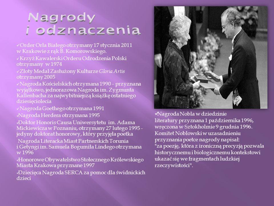 Order Orła Białego otrzymany 17 stycznia 2011 w Krakowie z rąk B.