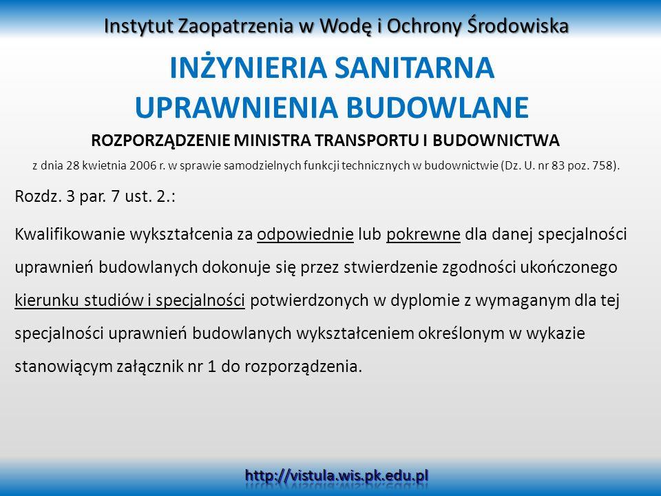 INŻYNIERIA SANITARNA UPRAWNIENIA BUDOWLANE ROZPORZĄDZENIE MINISTRA TRANSPORTU I BUDOWNICTWA z dnia 28 kwietnia 2006 r. w sprawie samodzielnych funkcji