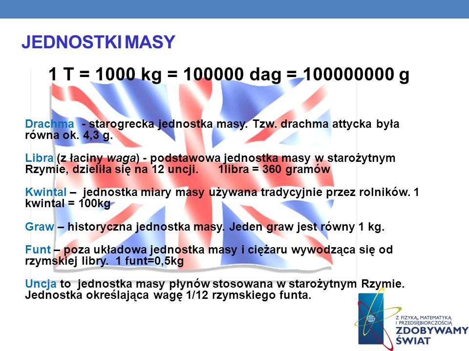 JEDNOSTKI MASY 1 T = 1000 kg = 100000 dag = 100000000 g Drachma - starogrecka jednostka masy. Tzw. drachma attycka była równa ok. 4,3 g. Libra (z łaci