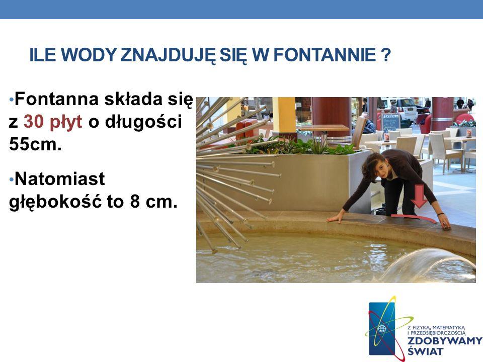 ILE WODY ZNAJDUJĘ SIĘ W FONTANNIE ? Fontanna składa się z 30 płyt o długości 55cm. Natomiast głębokość to 8 cm.