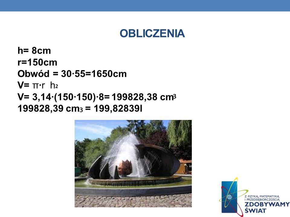OBLICZENIA h= 8cm r=150cm Obwód = 30·55=1650cm V= π·r h V= 3,14·(150·150)·8= 199828,38 cm 199828,39 cm = 199,82839l 2 3 3