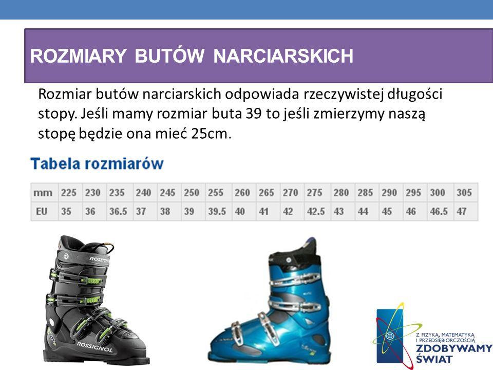 ROZMIARY BUTÓW NARCIARSKICH Rozmiar butów narciarskich odpowiada rzeczywistej długości stopy. Jeśli mamy rozmiar buta 39 to jeśli zmierzymy naszą stop