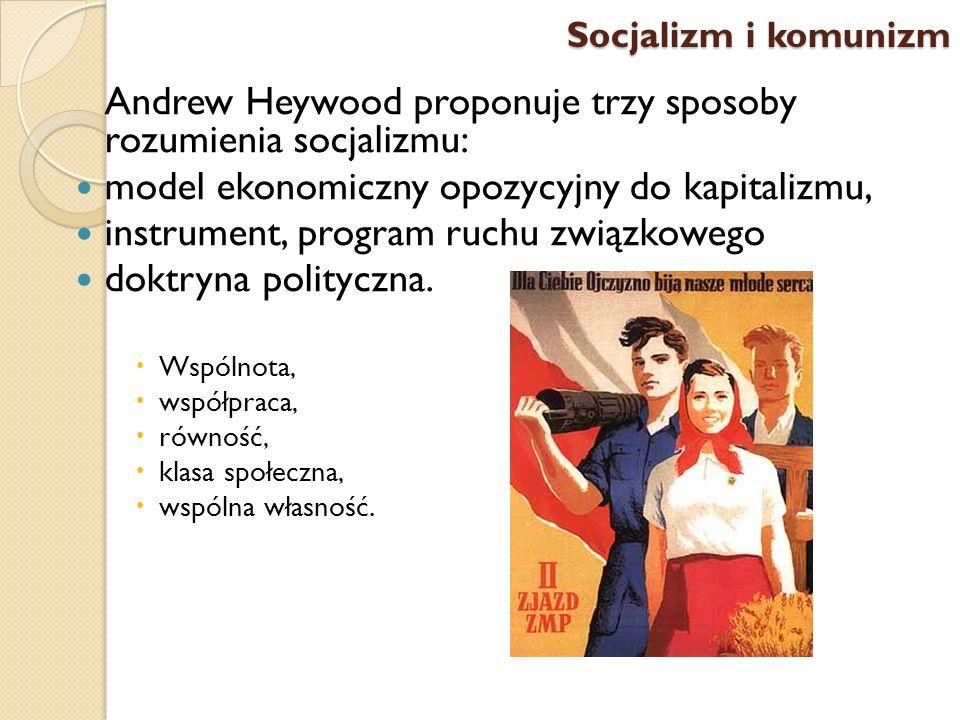 Andrew Heywood proponuje trzy sposoby rozumienia socjalizmu: model ekonomiczny opozycyjny do kapitalizmu, instrument, program ruchu związkowego doktry