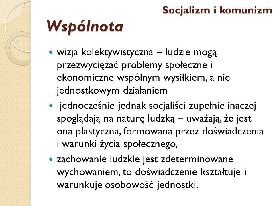 Wspólnota wizja kolektywistyczna – ludzie mogą przezwyciężać problemy społeczne i ekonomiczne wspólnym wysiłkiem, a nie jednostkowym działaniem jednoc