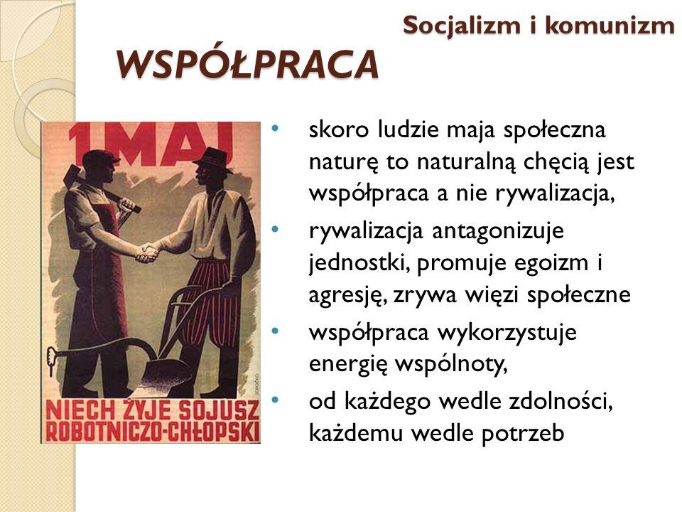 WSPÓŁPRACA skoro ludzie maja społeczna naturę to naturalną chęcią jest współpraca a nie rywalizacja, rywalizacja antagonizuje jednostki, promuje egoiz
