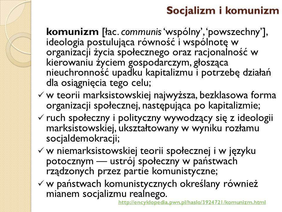 Socjalizm utopijny, Socjalizm naukowy (marksizm) socjalizm reformistyczny, Rewizjonizm Eduarda Bernsteina, Komunizm (leninowska wersja marksizmu), Trockizm, Socjaldemokracja, Socjalizm realny (demokracja ludowa), Eurokomunizm, Maoizm,