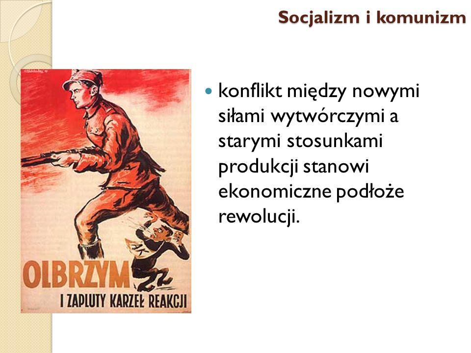 konflikt między nowymi siłami wytwórczymi a starymi stosunkami produkcji stanowi ekonomiczne podłoże rewolucji. Socjalizm i komunizm