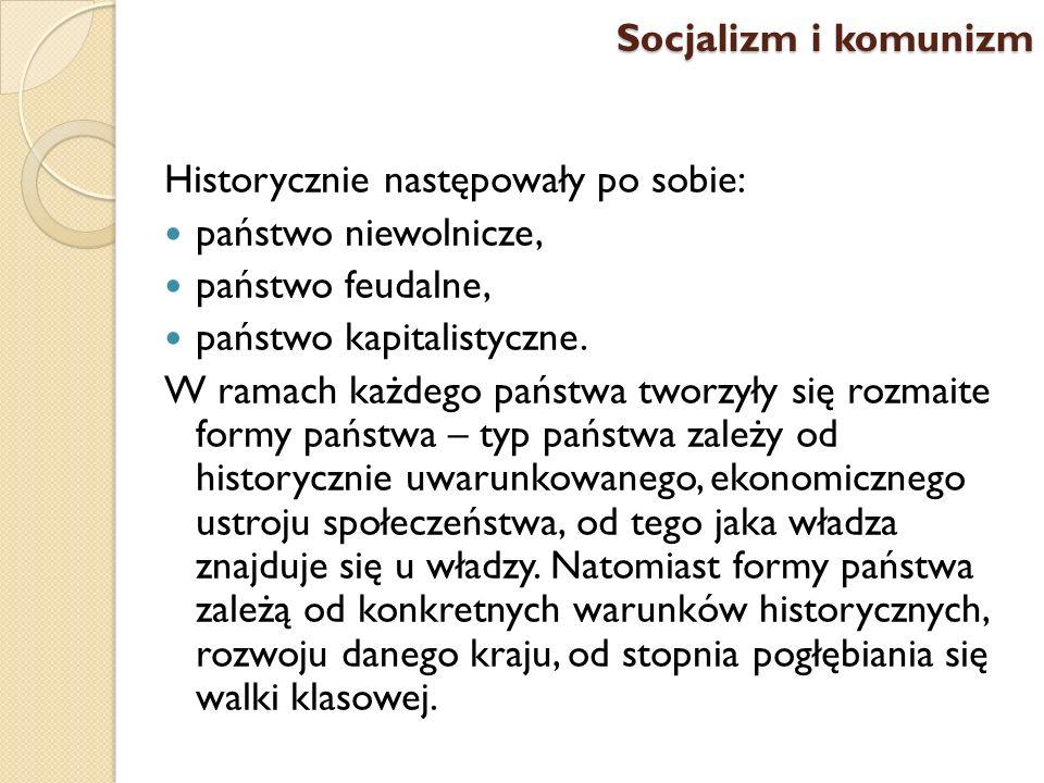 Historycznie następowały po sobie: państwo niewolnicze, państwo feudalne, państwo kapitalistyczne. W ramach każdego państwa tworzyły się rozmaite form
