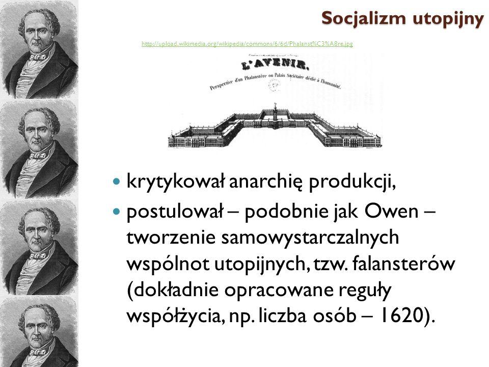 krytykował anarchię produkcji, postulował – podobnie jak Owen – tworzenie samowystarczalnych wspólnot utopijnych, tzw. falansterów (dokładnie opracowa