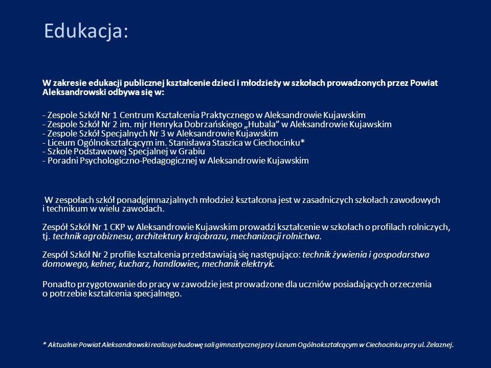 Edukacja: W zakresie edukacji publicznej kształcenie dzieci i młodzieży w szkołach prowadzonych przez Powiat Aleksandrowski odbywa się w: - Zespole Sz
