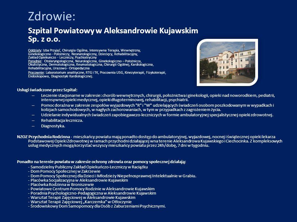 Zdrowie: Szpital Powiatowy w Aleksandrowie Kujawskim Sp. z o.o. Oddziały: Izba Przyjęć, Chirurgia Ogólna, Intensywna Terapia, Wewnętrzny, Ginekologicz