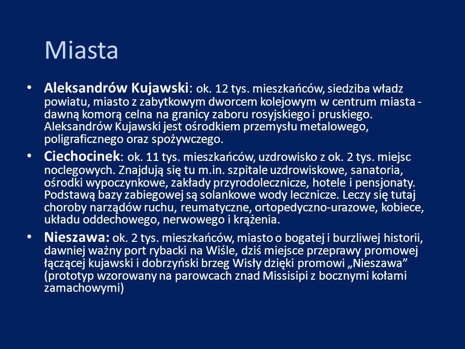 Miasta Aleksandrów Kujawski: ok. 12 tys. mieszkańców, siedziba władz powiatu, miasto z zabytkowym dworcem kolejowym w centrum miasta - dawną komorą ce
