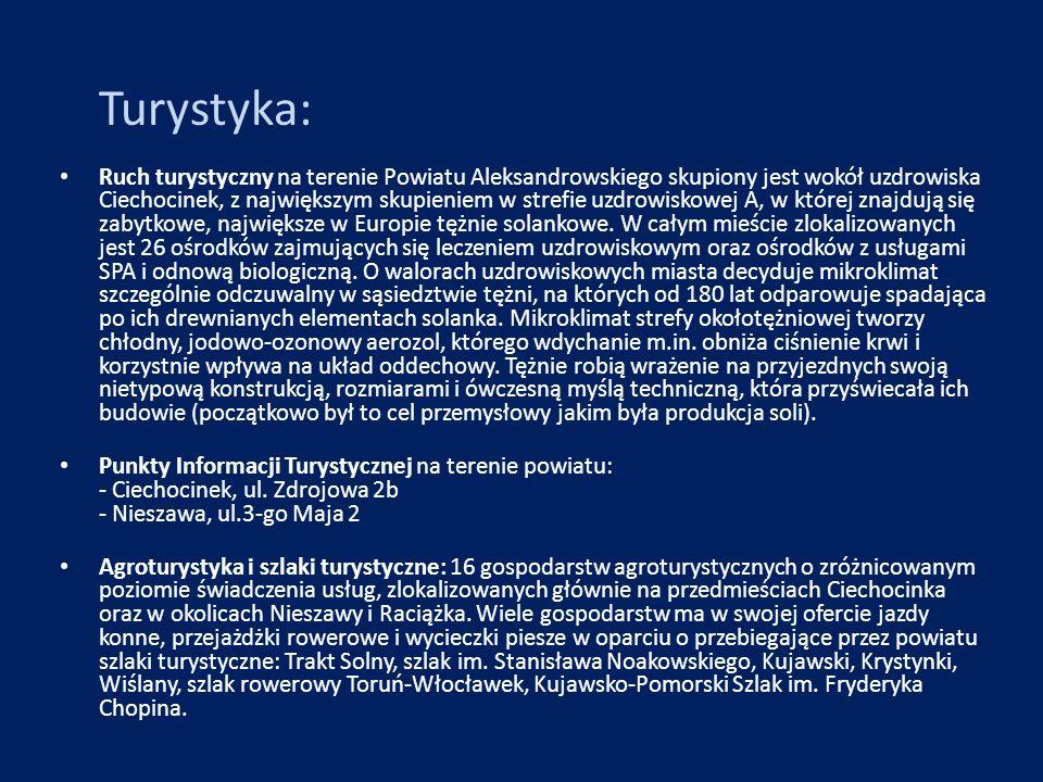 Turystyka: Ruch turystyczny na terenie Powiatu Aleksandrowskiego skupiony jest wokół uzdrowiska Ciechocinek, z największym skupieniem w strefie uzdrow