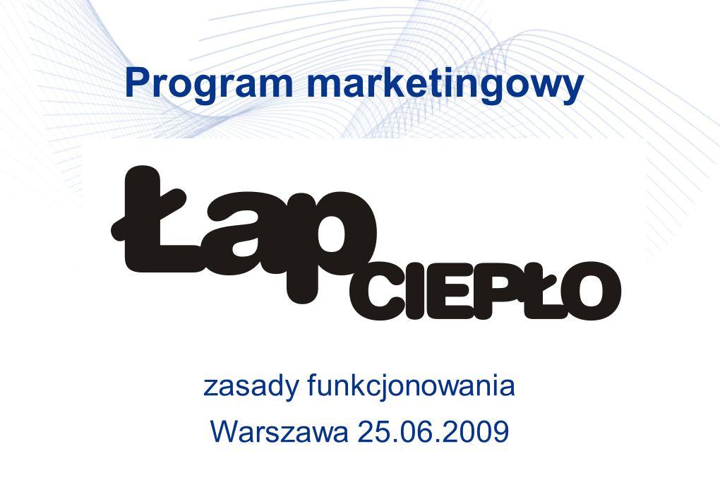 zasady funkcjonowania Warszawa 25.06.2009 Program marketingowy