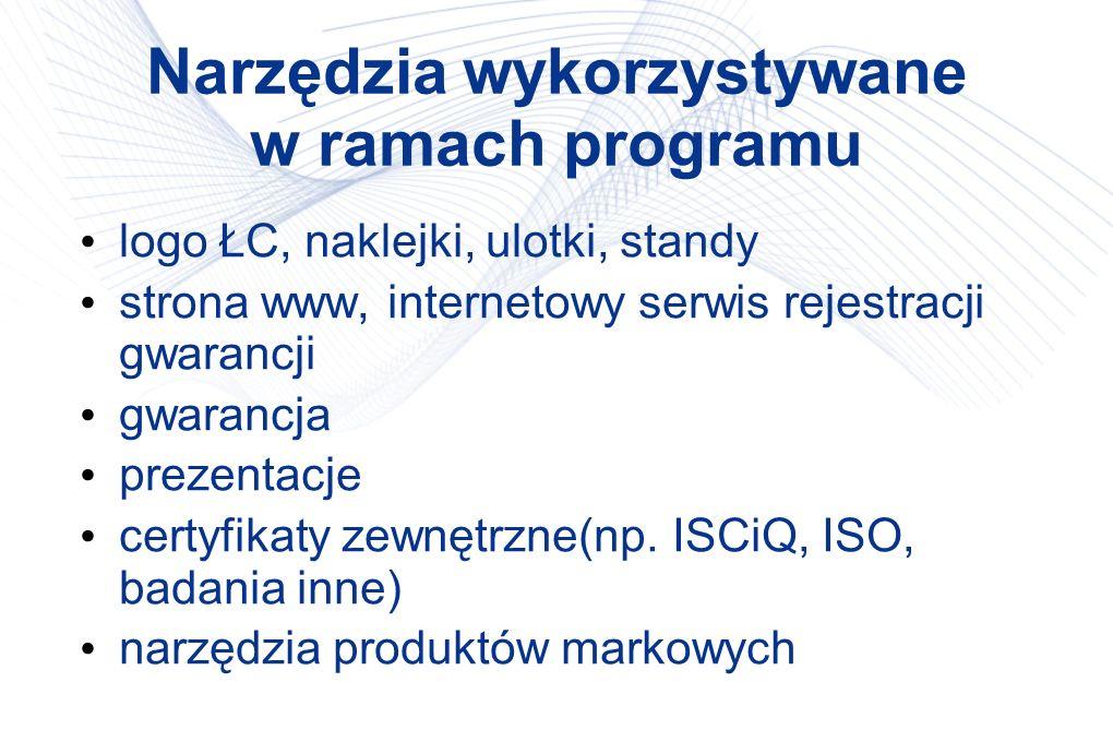 Narzędzia wykorzystywane w ramach programu logo ŁC, naklejki, ulotki, standy strona www, internetowy serwis rejestracji gwarancji gwarancja prezentacj