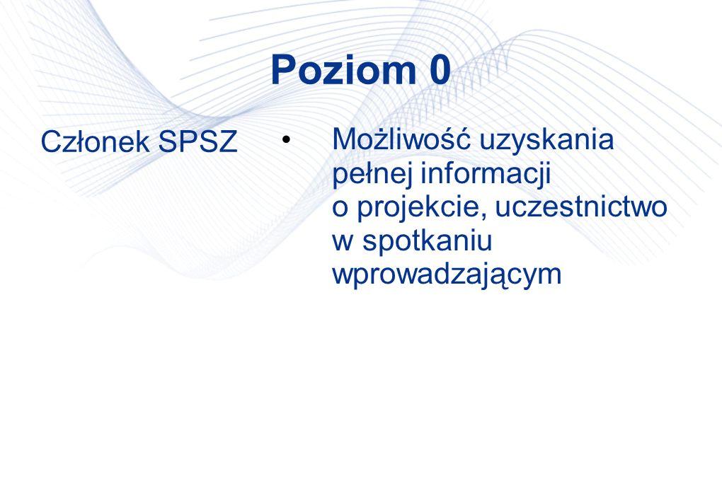 Poziom 0 Członek SPSZ Możliwość uzyskania pełnej informacji o projekcie, uczestnictwo w spotkaniu wprowadzającym