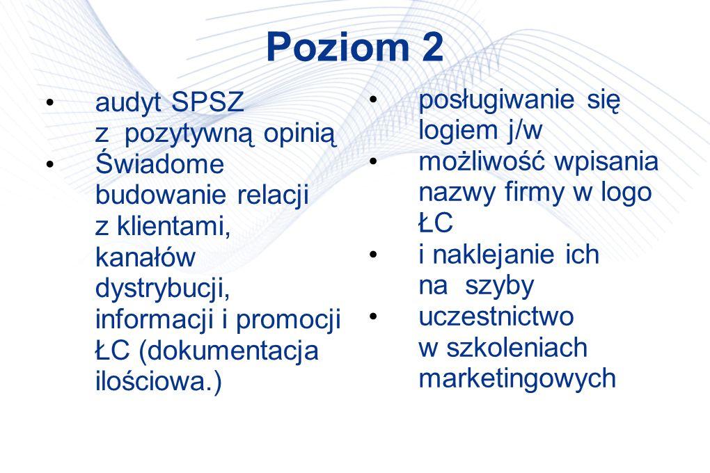 Poziom 2 audyt SPSZ z pozytywną opinią Świadome budowanie relacji z klientami, kanałów dystrybucji, informacji i promocji ŁC (dokumentacja ilościowa.) posługiwanie się logiem j/w możliwość wpisania nazwy firmy w logo ŁC i naklejanie ich na szyby uczestnictwo w szkoleniach marketingowych