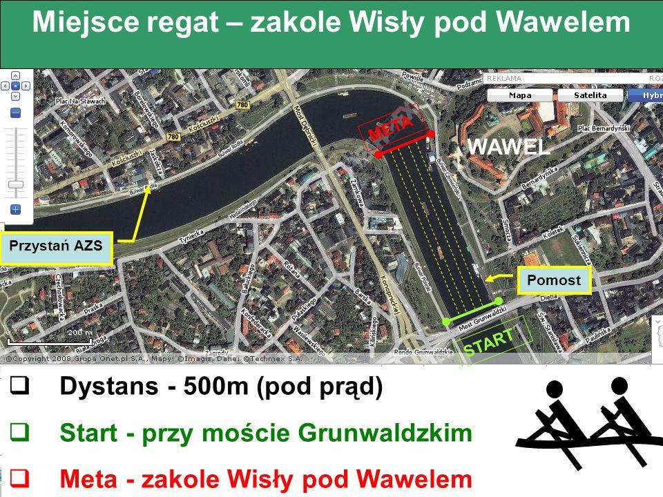 www.wawelskiewiosla.pl Miejsce regat – zakole Wisły pod Wawelem Przystań AZS START META Dystans - 500m (pod prąd) Start - przy moście Grunwaldzkim Met
